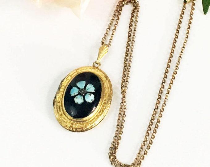 Vintage Locket with Blue Enamel Flower - 1/20 10K GF Gold Filled A&Z Large oval Shape Photo Locket Pendant on Gold Tone Chain - Shabby Chic