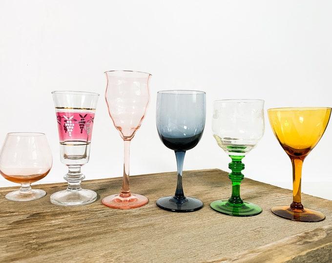 2nd Time Around Vintage Set 6 Cordial Glasses - Cocktail Glasses - Unique Retro Collection / Combination Barware Stemware Cocktail Glass