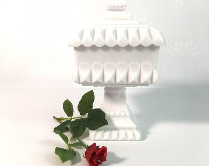 LARGE Westmoreland Milk Glass Wedding Cake Box / Bowl - White Candy Jar or Compote w/ Lid - Glass Pedestal Dish Square Circa 1950 Home Decor