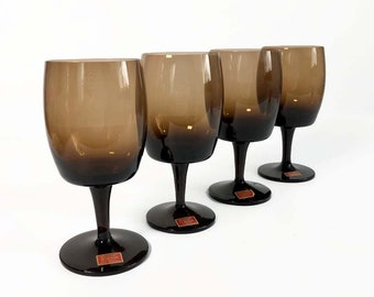 Gorham Accent Brown 10oz Water Goblets Set of 4 - Dark Brown Stemmed Water Wine Glasses - Vintage Reizart Crystal Retro Mid Century Barware