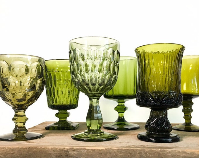 2nd Time Around Vintage Set 6 Green Goblets Heavy Glasses - Unique Retro Collection / Combination Barware Stemware