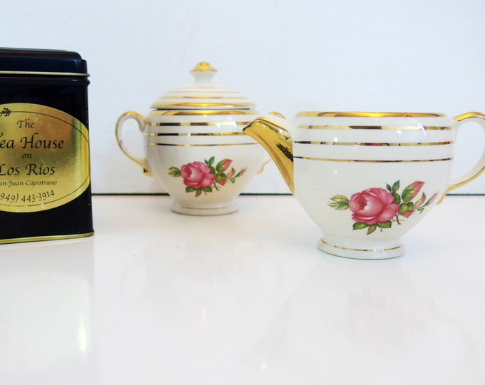 Vintage Mount Vernon by Salem China Co. Creamer and Sugar Bowl Set - Shabby Chic or Country Cottage Set - Roses on Ivory - 23 K Gold