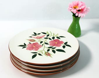 """Mid Century Stangl Wild Rose 10"""" Dinner Plate -  Vintage Kitchenware Pottery - Retro Serving White w/ Pink Flowers"""