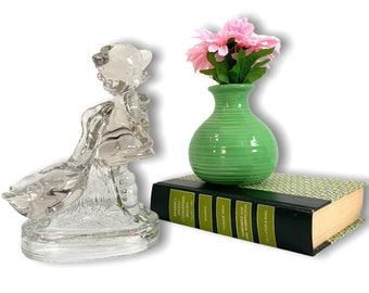 Vintage LE Smith Girl and Geese Clear Glass Home Decor Figurine