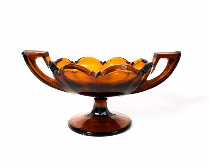 Vintage Small Art Deco Dark Amber Glass Trophy Cup - Depression Brown Glass Bowl w/ 2 Handles Home Decor