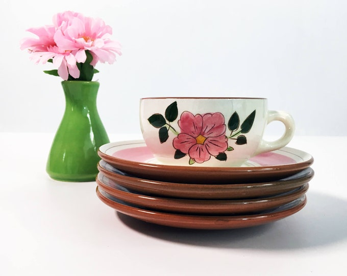 Mid Century Stangl Wild Rose Cup and Saucer -  Vintage Kitchenware Pottery - Retro Serving White w/ Pink Flowers