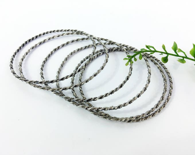 Vintage Silver tone Bangles / Bracelets - Set of 6 Matching Skinny Twisted Stackable Bracelets - Vintage Retro Boho Jewelry