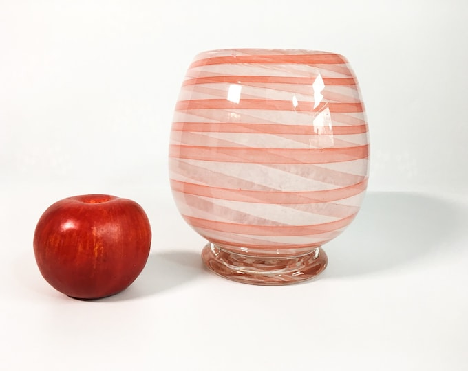 Vintage Art Glass Spiral Striped Vase - White w/ Pink & White Stripe Swirl Hand blown Cased Glass -  Mid century Mod Retro Home Decor