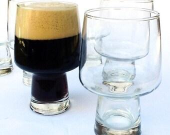 Set of 4 Vintage Beer Glasses Libbey - Steiners 16 oz Glass - Clear Glass - Retro Barware Bier Glass Drinkware