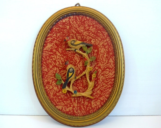 Antique or Vintage 3D Birds on Flocked Red Velvet Background in Oval Frame - Made in Italy - Large Oval Frame - Wall Decor Featuring 2 Birds