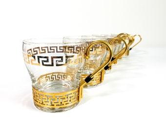 Vintage Set 6 Greek Key Coffee Cups w/ Metal Handles - Six Glass Retro Mugs by Libbey w/ Gold Trim