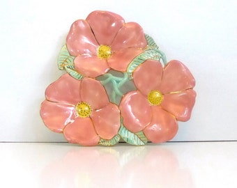 Vintage Three Section Salmon Pink China Serving Dish - Vintage Sectioned Flowers Serving Dish - Salmon with Green, Yellow, Gold Trim