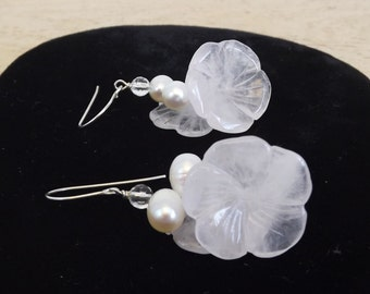 Vintage Freshwater Pearl and Crystal Flower Earrings - Dangle Wire Earrings - Two Pearls and Two Flowers on Each