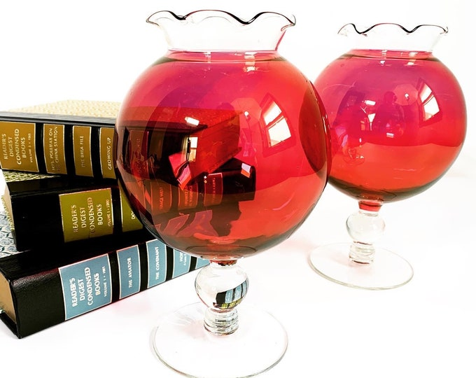 Vintage Pair Red & Clear Ball Shaped Glass Mantle Pedestal Vases - 2 Frilled or Crimped Top Edge Vases - Retro Home Decor