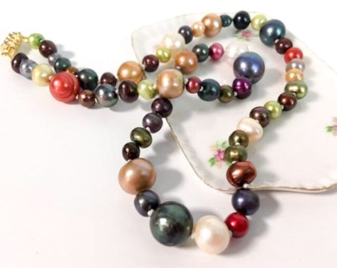 "Vintage Freshwater Pearl Necklace Rainbow Colors - Dyed Multi Size Pearls - Matinee 20"" Length w/ Magnetic Clasp Single Strand ca 1980s"