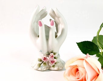 Lefton Lady's Hands Trinket Ceramic / China Mid Century Retro Painted w/ Pink Roses - Kitsch Bedroom Bathroom Decor