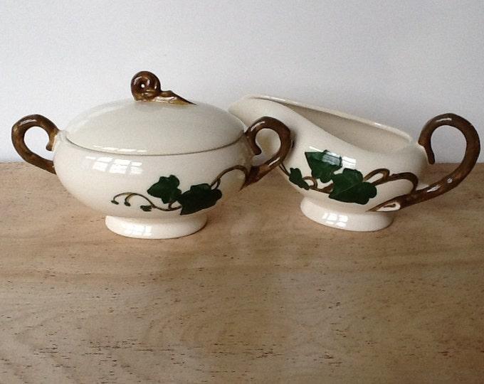 Vintage Metlox Poppytrail Ivy Sugar & Creamer Set - Retro California Pottery Vernon Kilns Sugar Creamer Ivory w/ Green Brown Kitchenware