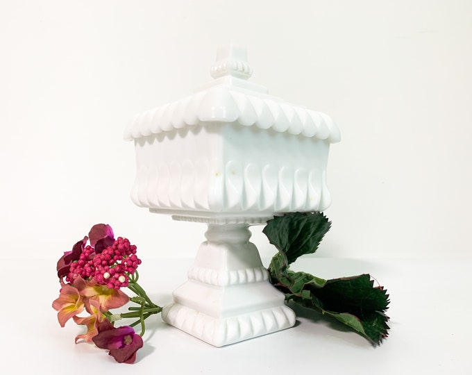 Westmoreland Milk Glass Wedding Cake Box / Bowl - White Candy Jar or Compote w/ Lid - Glass Pedestal Dish Square Circa 1950 Home Decor