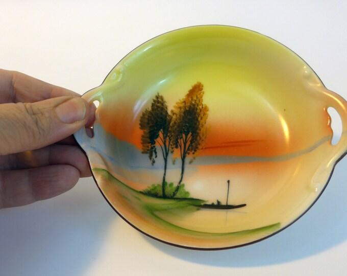 Antique Japanese Noritake Morimura Bowl or Dish w/ Small Handles - Handpainted Ca 1920 - Lake Sunset Boat Yellow, Orange, Blue, Green, Brown