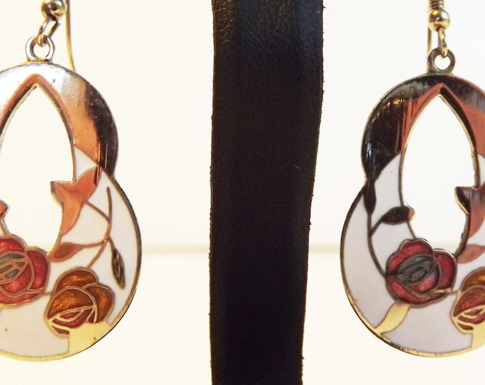 Floral Circle Cloisonne Earrings - Dangle Drop Multi Color Enamel Jewelry Pink and White / Cream Flowers / Flower Rose Design Vintage Retro