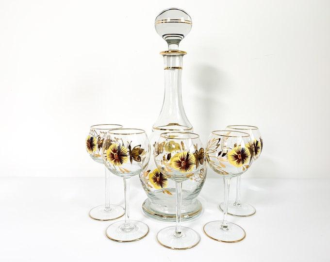 Vintage Hand Painted 6 Piece Decanter Set - Pansy Flowers Butterflies Retro Liquor / Wine  5 Matching Glasses - Mid Century