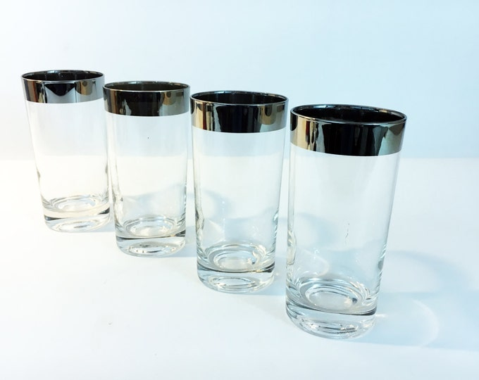 4 Mad Men Style Silver Band Mid Century Modern Tumblers, Mod Drinking Glasses with Silver Rim - 4 Silver Rimmed Glasses