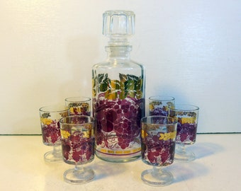 Vintage Luminarc France Purple / Red w/ Gold Accents Decanter w/ 6 Cordials - Retro Decanter & Matching Cordial Glasses Grapes, Cherry Motif