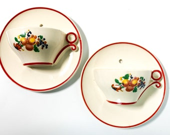 Vintage Cup & Saucer w/ Fruit Pair Vintage Porcelain Wall Pocket Vases Plaques - 2 Round 3D Kitsch Mid century Art Hangings Kitchen Decor