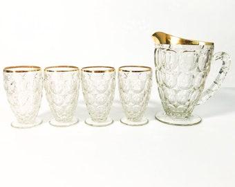 Vintage Juice Set Pitcher & Glasses Set - Thumbprint w/ Gold Trim - Retro Glass 5 Pc Drinkware Set