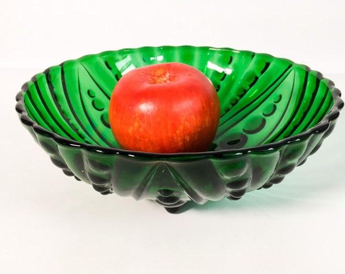 Anchor Hocking Burple Green Dessert Bowl - Emerald Green Beaded Three Footed Fruit Serving Bowl Kitchenware Retro Vintage Home Decor