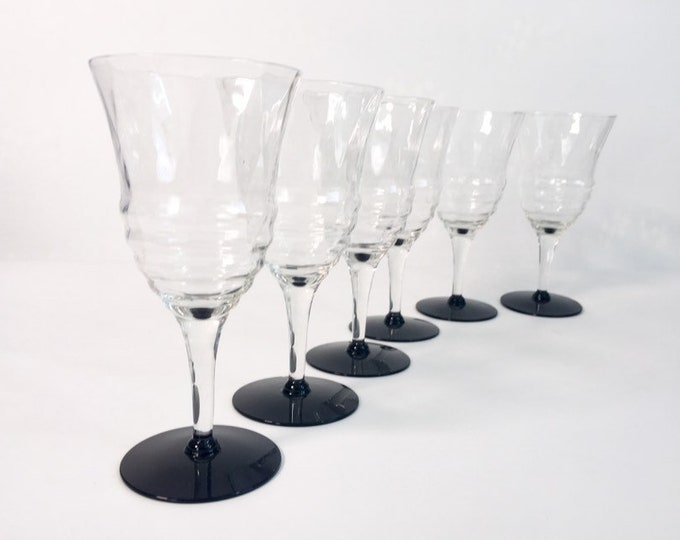 6 Vintage Clear Stem Black Amethyst Base Wine Glasses -  Horizontal Ribbed Bowls - Set of Six Mid century Retro Glasses