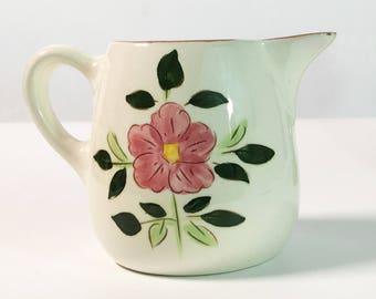 Mid Century Stangl Wild Rose 8 Oz Pitcher -  Vintage Kitchenware Pottery - Retro Serving White w/ Pink Flowers