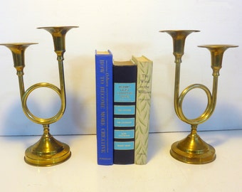 Brass Candlesticks - Pair of Double Horn Shaped w/ Round Circle Loop in Center - Round Base Brass Candle Holders