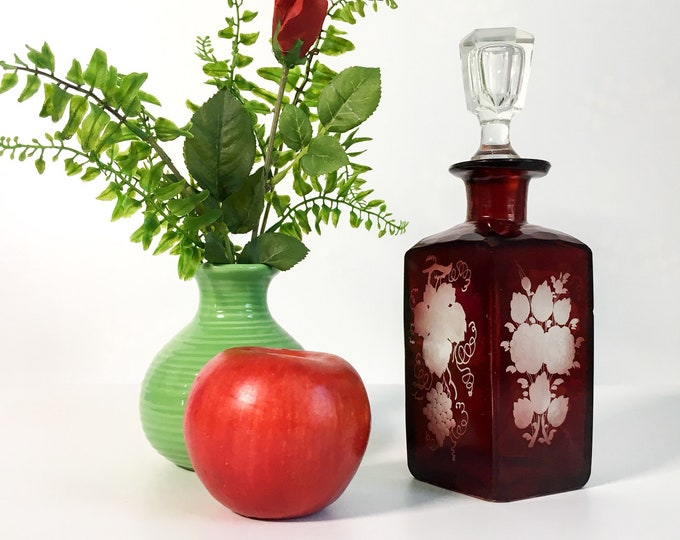Vintage Czech Ruby Red Bohemian Glass Decanter w/ Stopper - Retro Decanter w/ Etched Flowers & Grapes and Faceted Glass on Top Edge