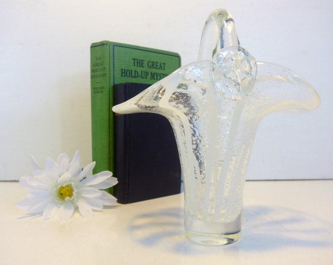 Vintage Hand Blown Art Glass Basket w/ Clear Handle - Art Glass Clear & Opaque White Striped Glass Home Decor Basket w/ Handle Retro