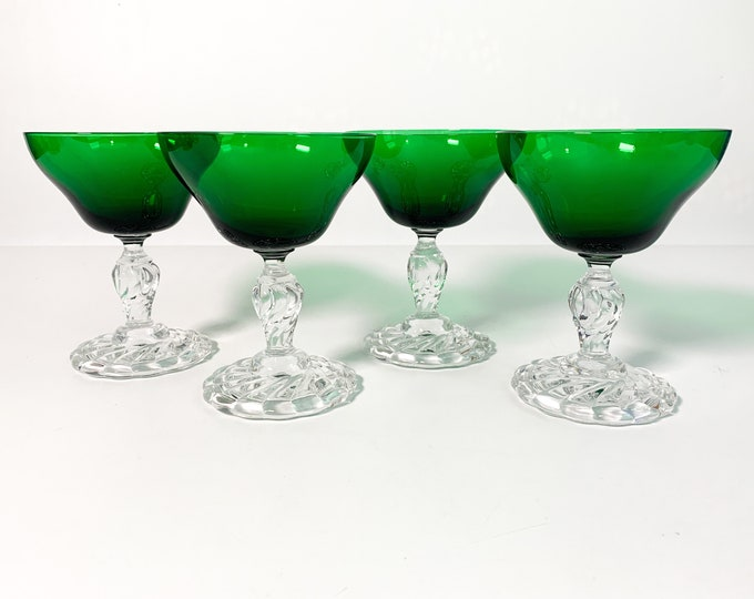 Set of 4 Colonial Dame Green by Fostoria Champagne or Tall Dessert Glasses  - Emerald Green Bowl Clear Stem ca 1948-64