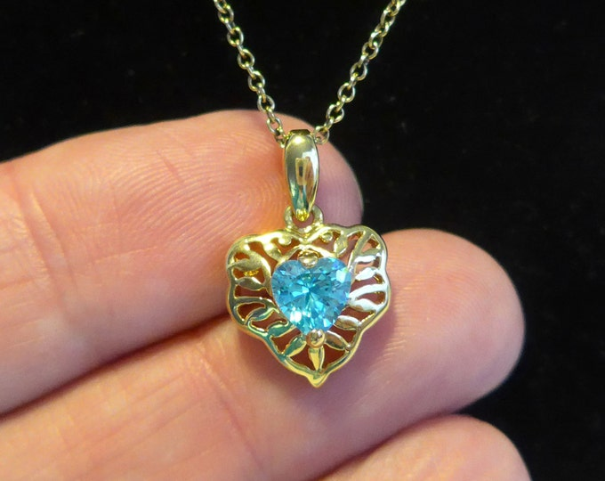 Vintage Vermeil 925 Necklace w/ Turquoise Stone - Gold over Sterling Silver Pendant Necklace - December Birthstone Gift Girl Birthday