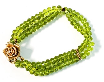 Vintage 14K Gold Fill & Faux Peridot Bracelet w/ Double Rows GF Rose Clasp w/ Diamond - Retro Faux Gemstone Jewelry