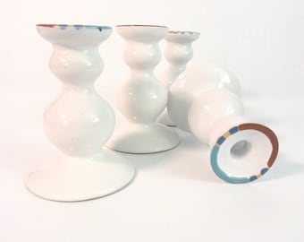 4 Dansk White Mesa Candlestick Holders Cream W/ Blue Turquoise Brown Vintage Pottery 4 Retro Candleholders