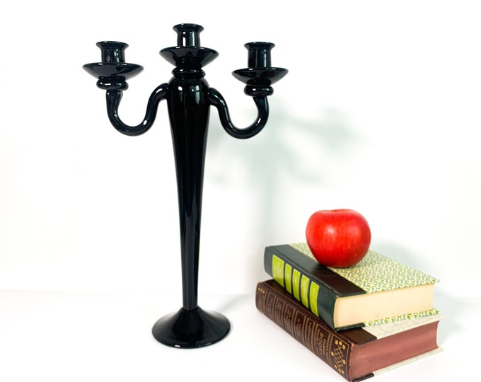 Vintage Tall Black Glass Candleabra - Retro 3 Candle Holder - Mid century Black Tall Home Kitchen Dining Room Decor - Three Arm Candlestick