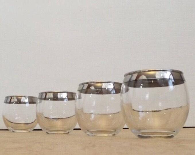 Set of 4 Roly Poly Mad Men Silver Rim Drinking Glasses - Vintage Set - Dorothy Thorpe Style - Midcentury Modern