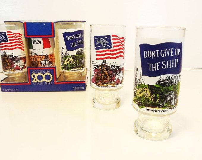 America Bicentenial Drinking Glasses - Vintage Anchor Hocking Americana Design Highball Glass - Set of 6 Still in Box - History / Historical