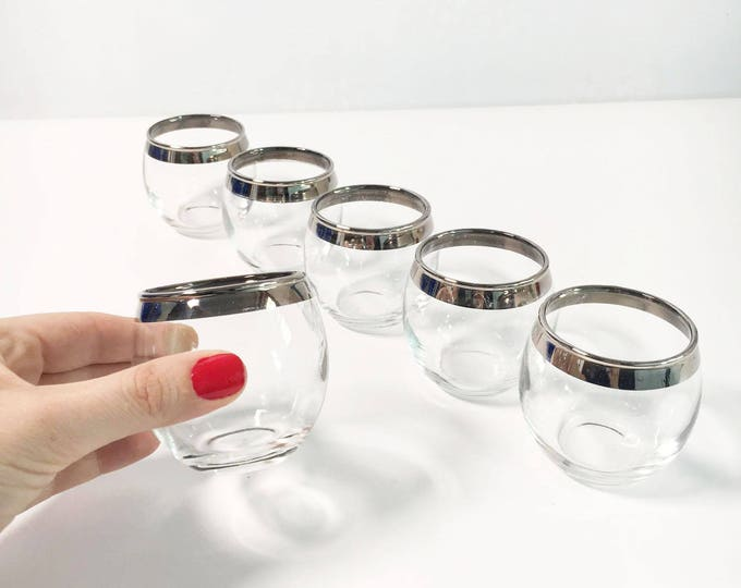 Set of 6 Roly Poly Mad Men Silver Rim Drinking Glasses - Vintage Set Small Dorothy Thorpe Style - Mid century Modern Barware Silver Band