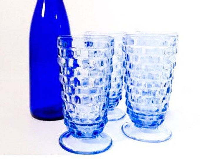 3 Whitehall Blue Colony Iced Tea / Water Glasses - Large Heavy - Waffle Design - Vintage Retro Drinking Glasses