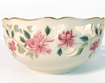 "Vintage Lenox Barrington Bowl - Pierced Porcelain 6"" Round Bowl All Purpose Bowl w/ Pink Flowers - Not Used - Made Ca 1990s Retro Home Decor"