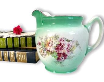 Antique Pitcher Ceramic - Vintage Floral Design w/ Hallmark on Green & White - Shabby Chic Cottage Farmhouse Decor Ca Early 1900