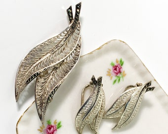 Vintage 925 Sterling Silver & Marcasite Brooch and Earrings Hallmarked Germany - Fine Filigree Mid century 3 Piece Set