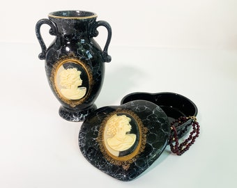 Vintage Matching Vase & Trinket Dish Black Ceramic Heart Shaped w/ Two Tone Cameo on Front Circa 1950s Bed Bath Home Decor
