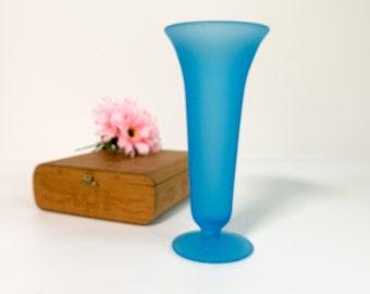 Vintage Blue Satin Glass Stretch Bud Vase - Slender Retro Home Decor Ca Mid century