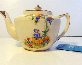 Arthur Wood Teapot Girl & Floral Design - Vintage Tea pot Mid century Orange Red Blue Flowers #3886 on Cream w/ Gold - Kitchen / Home Decor